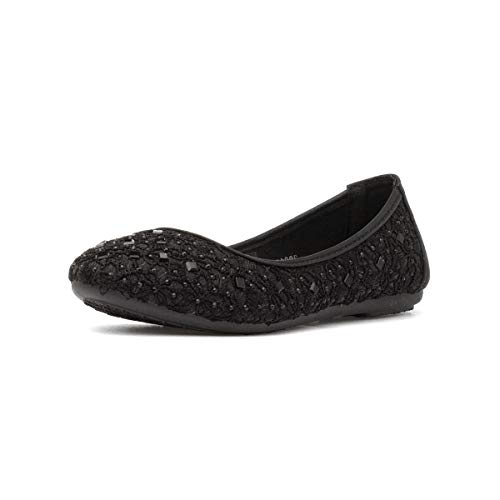Lilley Girls Black Stud Slip On Ballerina - Size 13 Child UK - Black