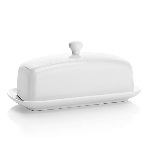 Sweese 307.101 Porcelain Butter Dish with Lid, Perfect for East West Coast Butter, White