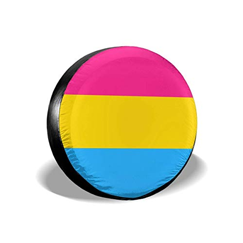 Pansexuality Pride Flag Spare Tire Cover Dust-Proof Universal Wheel Protector Fit for Jeep and Various Vehicles,14inch