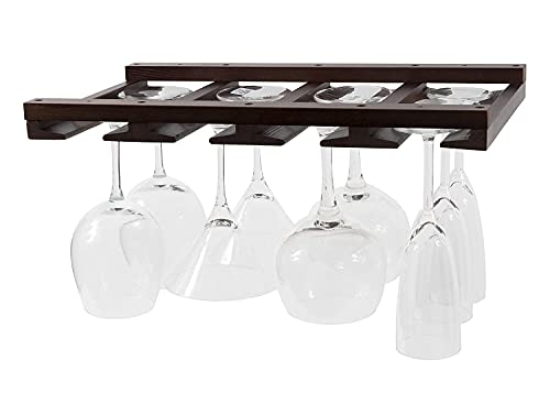 Rustic State Eze Stemware Glass Rack Makes Dull Kitchens or Bar Perfectly Fits 6 -12 Glasses Under Cabinet Easy to Install with Included Screws Great Hanging Bar Glass Rack (Chestnut Stained)