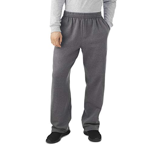 Fruit of the Loom Men's Fleece Sweatpants, Charcoal Heather, XXX-Large