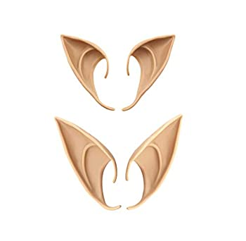 Bestjybt 2 Pairs Cosplay Fairy Pixie Elf Ears Soft Pointed Ears Tips Anime Party Dress Up Costume Accessories  long + short