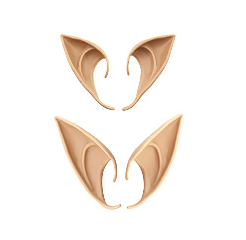 Bestjybt 2 Pairs Cosplay Fairy Pixie Elf Ears Soft Pointed Ears Tips Anime Party Dress Up Costume Accessories (Long + Short) Beige