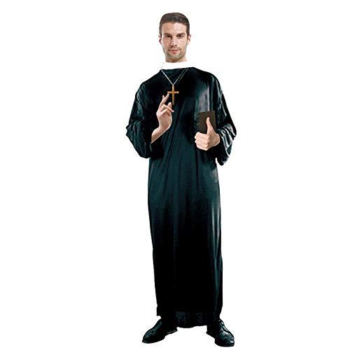 Disfraz de sacerdote adulto de Halloween, disfraz de monja, Jesucristo, sacerdote misionero masculino sirviendo a Mara (disfraz de sacerdote adulto, talla nica)
