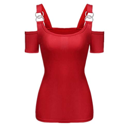 SLYZ Europäische Und Amerikanische Sommermode Für Damen Einfarbig Sexy Kurzärmeliges Trägerloses T-Shirt All-Match-top