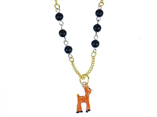 Miniblings REH Bambi Kette Halskette 70cm Rehkitz Punkte Metall emailliert Gold