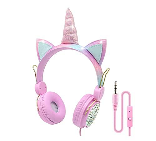 Kids Headphones Unicorn Headphone Foldable Adjustable Headset with 85dB Volume Limited for Children Teens Girls School Travel Online Learning Birthday Xmas Unicorn Gift (Pink)