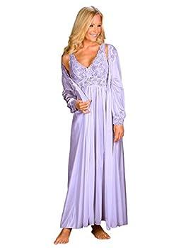 Shadowline Plus Silhouette Nightgown Robe Peignoir Set  2X Plus Peri Frost