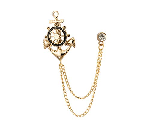 Knighthood Anchor Rudder Ships Wheel Nautical Lapel Pin Badge Coat Suit Wedding Gift Party Shirt Collar Accessories Brooch for Men