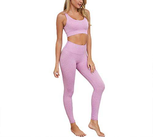 Hotexy Women's Workout Outfit 2 Pieces Seamless Yoga Leggings with Sports Bra Gym Clothes Set Lavender Purple
