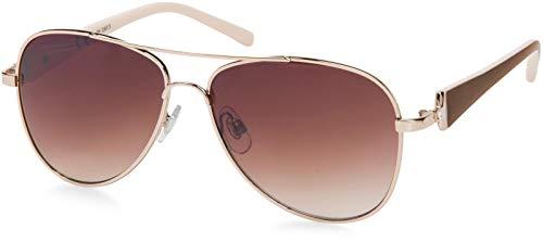 styleBREAKER Damas Aviadoras con lentes tintadas, gafas de sol con sienes lacadas y strass 09020053, color:Marco dorado/delineado de vidrio marrón degradado