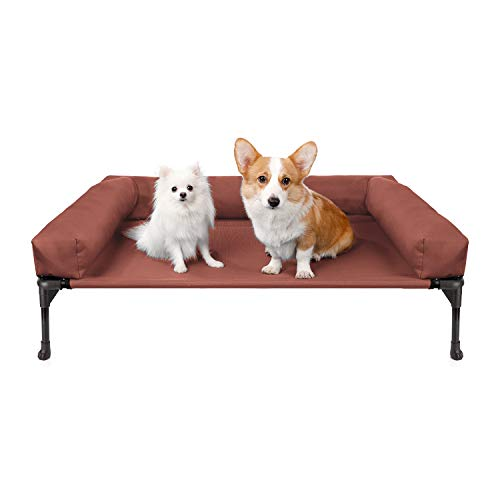 Veehoo Cooling Elevated Dog Bed with Bolster, Raised Pet Cot for Large Medium Small Dogs, Durable Textilene Mesh, Sturdy & Breathable Mat, Nonskid Feet, Indoor or Outdoor Use, Large, Orange Red