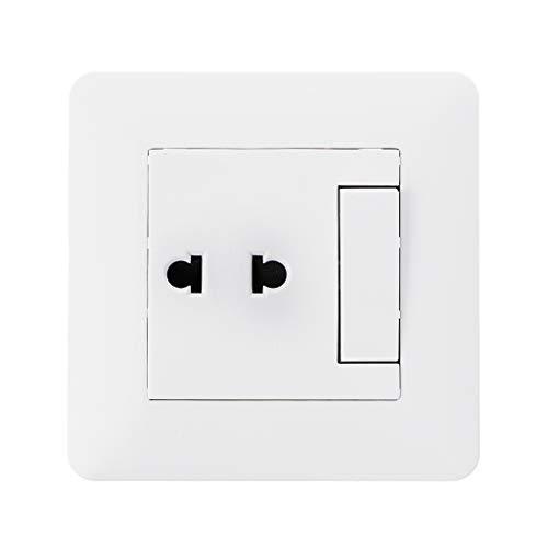 JOYKK Conector Universal de 2 Orificios con Interruptor de luz de 2 vías, Porcelana Blanca - Blanco Marfil