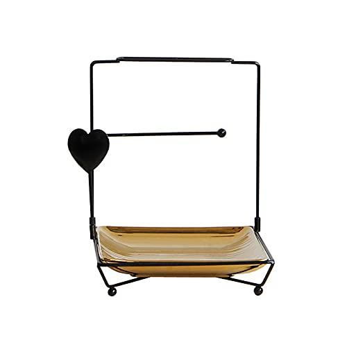 ZCFGUOI Cajas de joyería de metal de escritorio, organizador de maquillaje, estante de almacenamiento de cerámica de hierro de estilo nórdico extraíble para aparador, encimera, baño