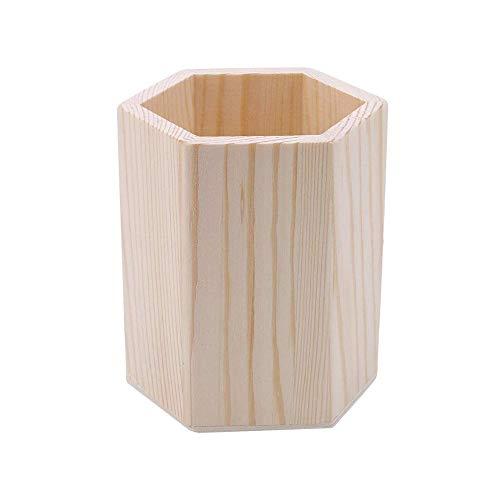 Wankd Holzstifthalter, Holz Stiftehalter Schreibtisch-Aufbewahrungsbox Büro Schule Schreibtisch Stifte Aufbewahrung Organizer Holz Multifunktions-Organizer (Sechseck)