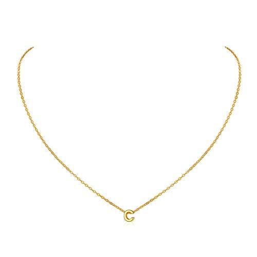ChicSilver Cadena Oro Letra C Collar Capitales Plata de Ley 925 Cadenas 46cm Largos Colgantes Pequeños Regalo Madre Joyería Linda de Clavícula