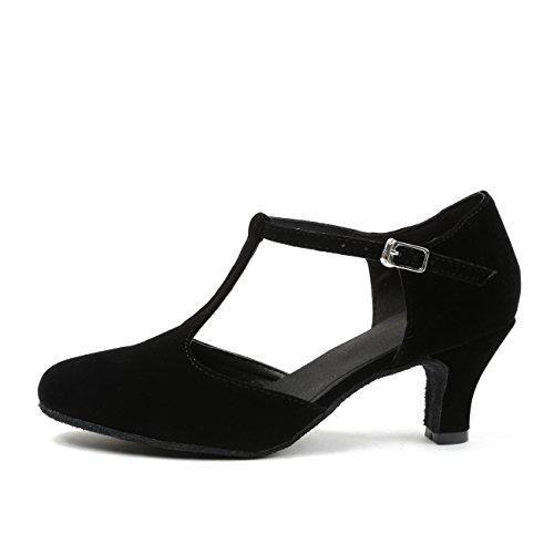 MINITOO QJ6132 Damen Peep Toe High Heel Wildleder Salsa Tango Ballroom Latein Mönch Strap Dance Sandalen, Schwarz – T-strp/Black-6cm Heel – Größe: EU 40 - 2