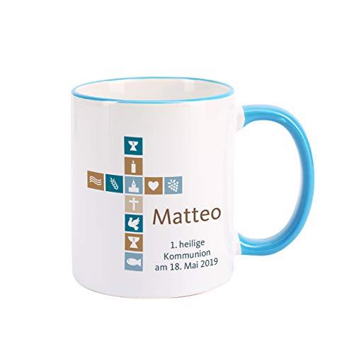 Herz & Heim® Kaffeetasse zur Kommunion/Konfirmation/Firmung mit Aufdruck des Namens und Wunschtext für Jungen