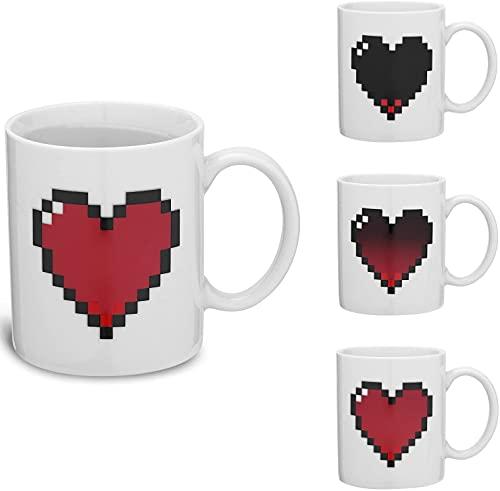 Tazza da colazione Termosensibile - Tazza Magica Cambia Colore con Cuore Rosso - Tazza per Cappuccino Caffè e Tè - Idea Regalo