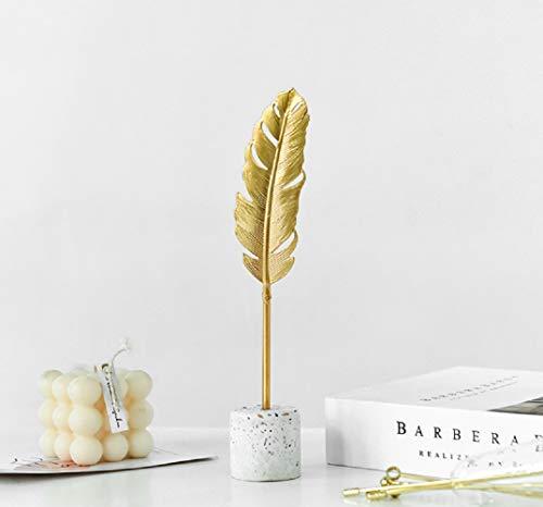 Omela Deko Figuren Gold Feder aus Metall Modern Dekofigur Klein Deko Objekt Tischdeko für Wohnzimmer Outside Garten Modern Skulptur Accessoires Geschenkidee 4 x 6.5 x 22 cm