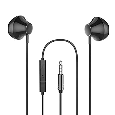 In-Ear Headphones, FLYHANA 3.5MM Stereo Wired Earphones, Noise Isolating Heavy Bass Earbuds with Microphone & Remote Control, Hands-free Wired Headset Compatible with Phone, Huawei, MI, Android, Black from FLYHANA