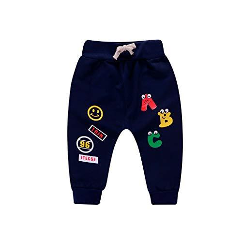Sunenjoy Pantalon Bébé Garçon Fille Sarouel Élastique Cordon de Serrage Pantalon de Jogging Running Lettre Imprimé Casual Mode Mignon pour Enfant 0-3 Ans (2-3 Ans, Marine)