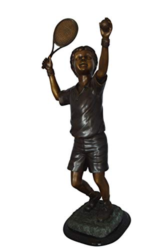Boy Playing Tennis Bronze Statue