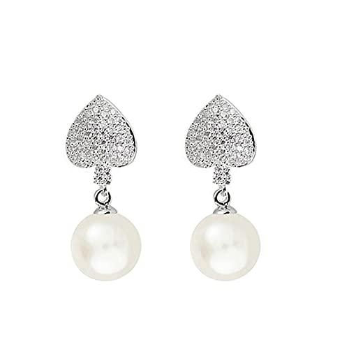 DJMJHG Pendientes de circonita Completa en Forma de corazón con Perlas de Cristal de circonita Micro pavé para Banquetes de Boda de Mujeres