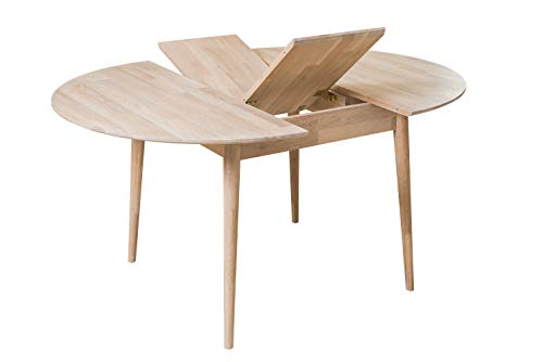 NORDICSTORY Escandi 4 Mesa de Comedor Nordica Extensible Redonda 120-155 cm, Madera Maciza Roble, Ideal para Cocina Salon, Muebles Diseño Estilo Nordico Color (Roble Blanqueado)