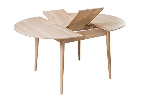 NordicStory Escandi 4 Table de salle à manger nordique extensible ronde 120 – 155 cm, bois massif chêne, idéale pour cuisine, salon, meubles design style nordique couleur (boble blanche)