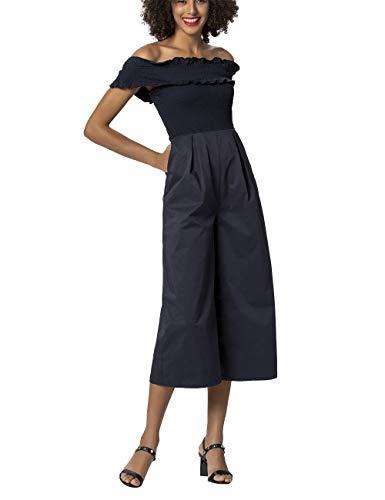 APART sommerlicher Damen Overall, Jumpsuit, Nachtblau, gesmoktes Oberteil, Carmen Ausschnitt, Hose weit geschnitten, Nachtblau, 34