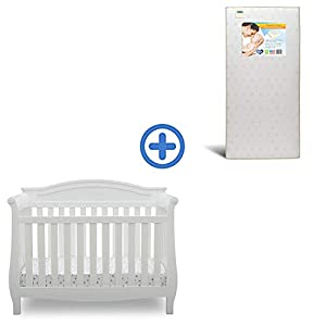 Delta Children Lancaster 4-in-1 Convertible Baby Crib & Twinkle Stars Waterproof Fiber Core Crib and Toddler Mattress, Bianca White