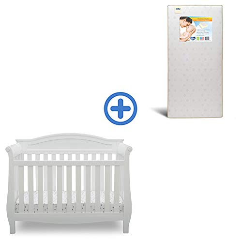 Delta Children Lancaster 4-in-1 Convertible Baby Crib & Twinkle Stars Waterproof Fiber Core Crib and...