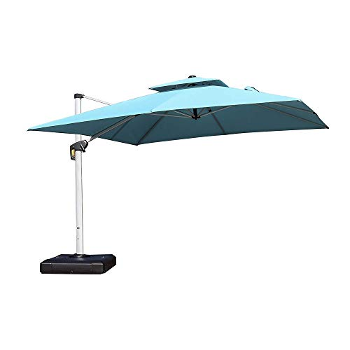 PURPLE LEAF 12 Feet Double Top Deluxe Square Patio Umbrella Offset Hanging Umbrella Cantilever Umbrella Outdoor Market Umbrella Garden Umbrella, Turquoise Blue