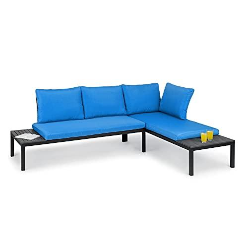 blumfeldt Cartagena Lounger - Panche da Giardino, Set: 2 a Due Posti + Tavolo/2 Rivestimenti/4 Cuscini, Modulare, Posto a Sedere per 4-6 Persone/Sdraio Lounge: per 2 Persone, Blu