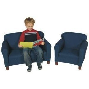 """Childs Play Wooden Frame Upholstery Pin Dot Pattern Sofa with Legs, 33"""" Length x 18"""" Width x 21"""" Height, Blue"""