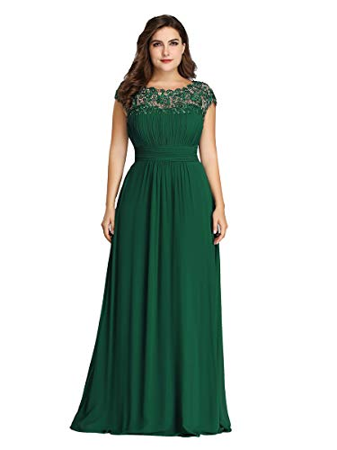 Ever-Pretty Damen Abendkleid A-Linie Spitze Rundkragen rückenfrei Lange Spitzenkleid Dunkelgrün 52