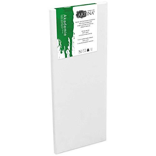 Artina Keilrahmen 50x150 cm Leinwand 100% Baumwolle auf stabilen Leisten in Akademie Qualität - weiß grundiert - 280 g/m²