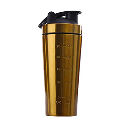 Stainless Steel Protein Shaker Bottle 1000ml Durable Fitness Sports Yellow 1 Pc