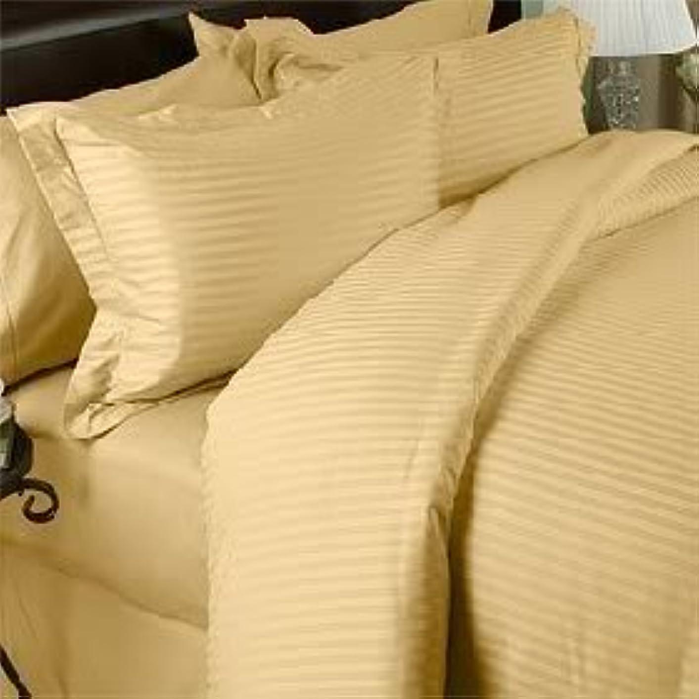 運命つづり暴力7ピース ゴールドダマスクストライプ キングサイズ ベッドシーツ-掛け布団カバーシーツ 枕カバー2枚と枕カバー2枚のセット 1500スレッドカウント 100% 長繊維 天然コンバード ギザコットン