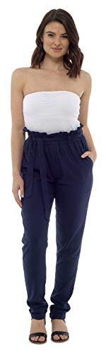 CityComfort Damen Leinenhose | Sommer-Outfit für Frauen mit Trendiger Papiertüte Taille | EU 38 bis 52 Plus Size Hose für Frauen ( EU 48 / UK 20, Marine)
