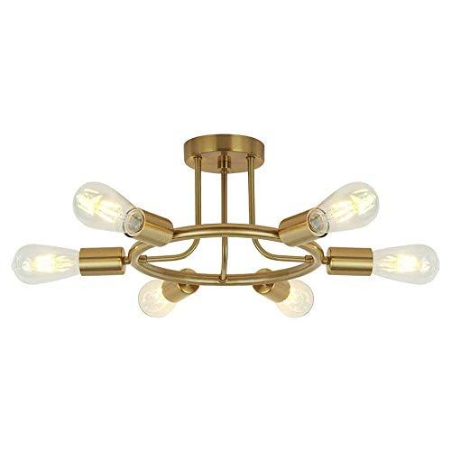 Lámpara de techo de 6 luces de mediados de siglo, montaje semi empotrado - Iluminación de araña moderna Sputnik Lámparas de techo para comedor, dormitorio, cocina, isla, vestíbulo, pasillo (Color: Lat