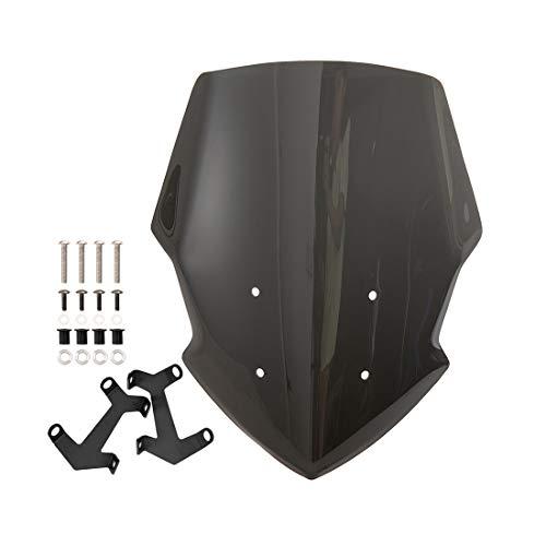 Parabrisas de motocicleta, protección de pantalla de viento a prueba de viento, se adapta a deflectores de viento MT07 FZ07 2018 2019 (Negro)