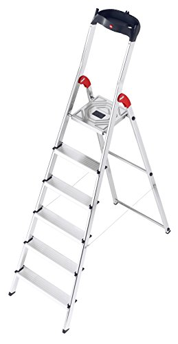 Hailo 8160-601 L60 safety ladder, 6 steps, multifunction tray,  hinge protection, made in Germany