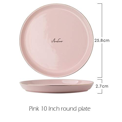 Dinner plate Simple Gray Pink Ceramic Plate set Phnom Penh Porcelain Tableware Dinner Set Rice Salad Noodles Bowl Soup Plates Dish Drop ship (Color : Pink 10 Inch plate)
