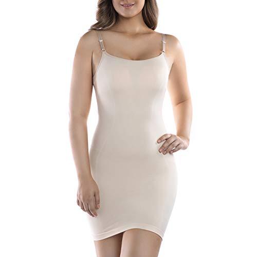 +MD Fajas de Correa de Espagueti para Mujer Control de luz Antideslizante Faja sin Costuras de Cuerpo Completo para Debajo de los Vestidos NudeL
