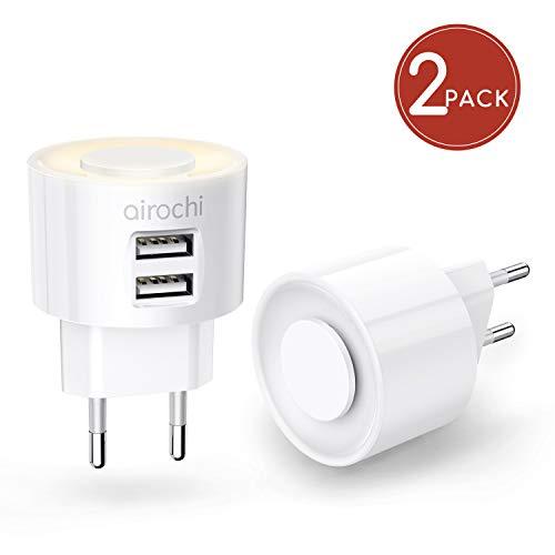 2 Pack 2-in-1 USB Ladegerät LED Nachtlicht mit 4 Individuellen Lichtstufen Dimmbar 2 Port USB Netzteil Schnellladen Stecker für iPhone 11 XS XR X 8 Plus iPad Samsung Galaxy S10 S10E S9 S9+ S8 Note 10