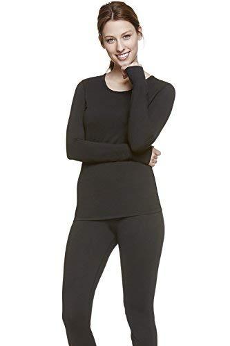 Womens Super Comfy Fleece Lined Thermal Underwear Long Johns Set AZ 2000 Black S