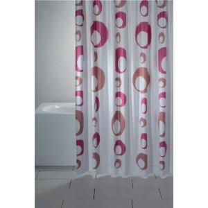 wohnideenshop Duschvorhang Bolle weiß Altrosa pink 180cm breit x 200cm lang Vinyl inkl. Ringe
