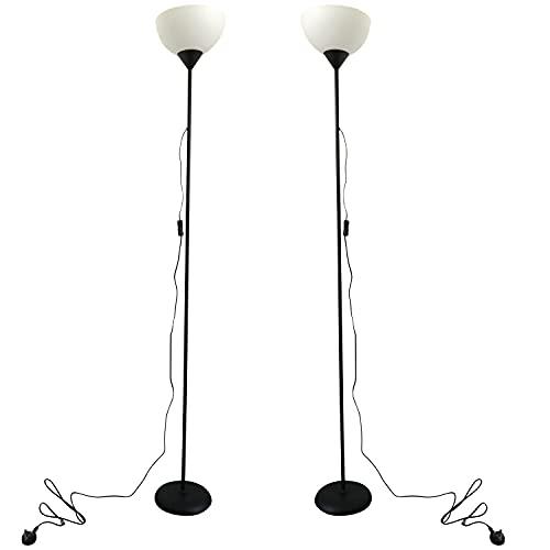 Set of 2 Black Uplighter Floor Lamps, Modern Standing Light Uplight Lamp,...